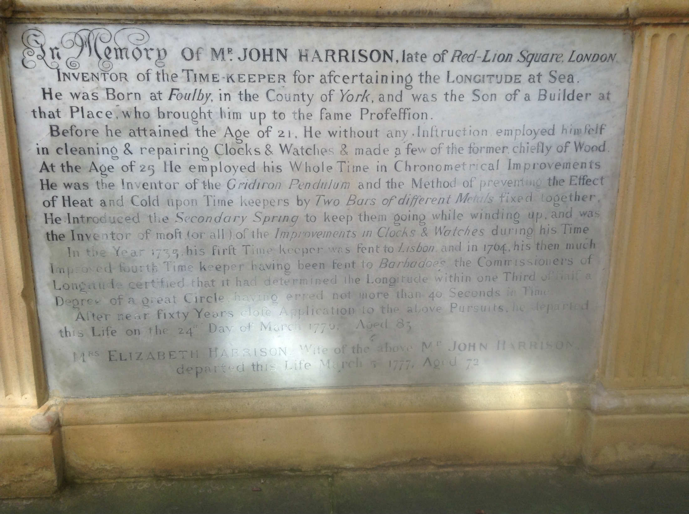 Watchmaker John Harrison's tomb